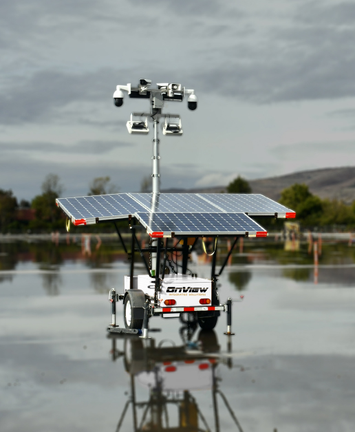 Solar Powered Security Trailers in construction site